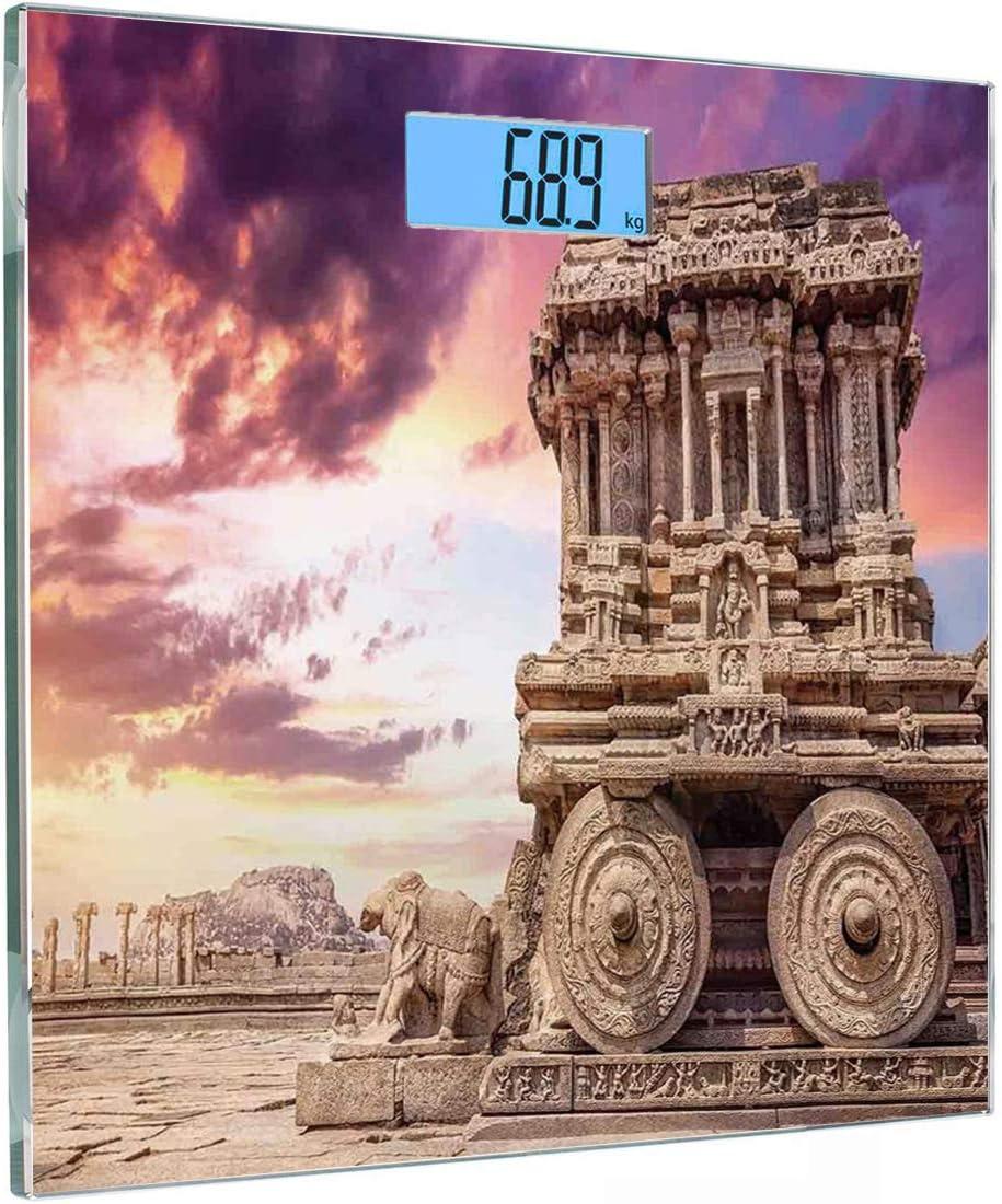 Cuadrado Básculas digitales de peso corporal ultradelgadas de vidrio templado Ruinas históricas antiguas talladas con patrones de hiedra al atardecer Indian Mystic Sky Picture Wall Art Sensores de pre: Amazon.es: Salud y