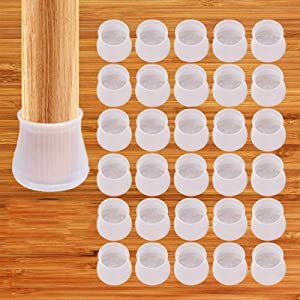 Chair Leg Caps Silicon Protection Cover - 32 Pcs Silicon Floor Protector - Round & Square Furniture Table Feet Cover - Prevents Scratches and Noise Without Leaving Marks (Transparent)