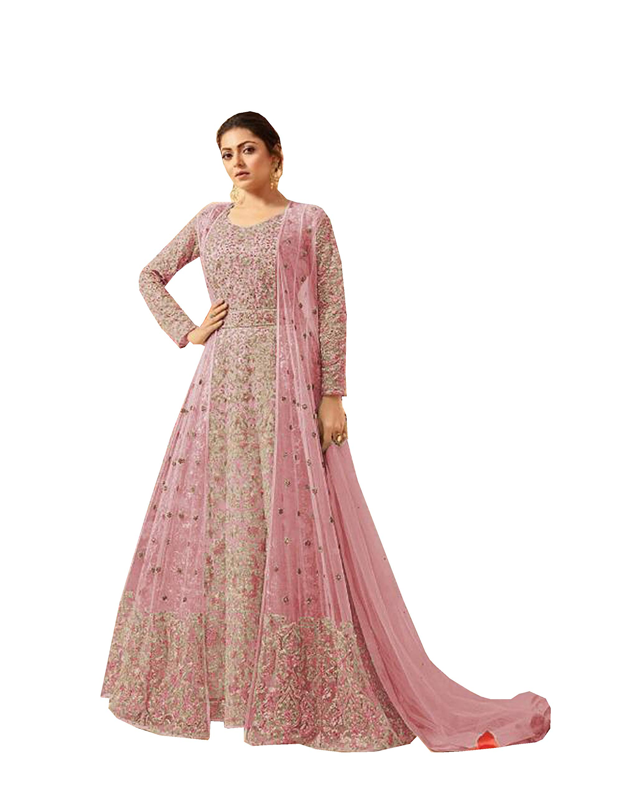 Delisa Indian/Pakistani Bollywood Party Wear Long Anarkali Gown for Womens LT New (Light Pink, LARGE-42)