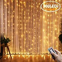 LED Curtain Lights, QcoQce Window Curtain Fairy Lights, 300 LEDs, 3M × 3M, 8 Modes Icicle String Lights with Remote Control for Outdoor Party Wedding Christmas Garden Bedroom Decoration