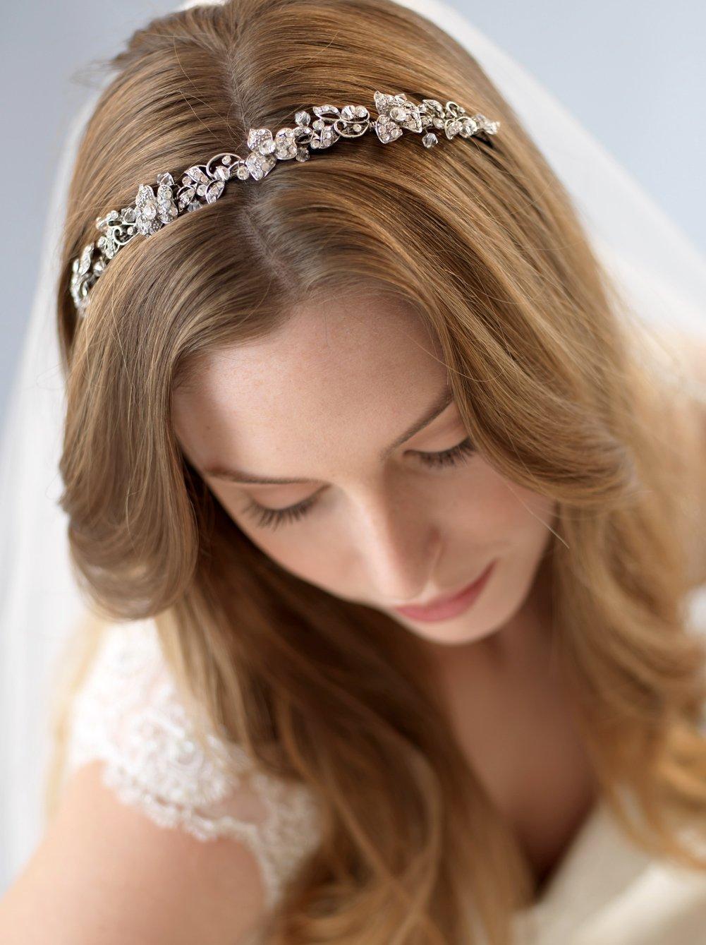 USABride Wedding Headband Silver Tone Rhinestone Vintage Headpiece Floral Bridal 3169