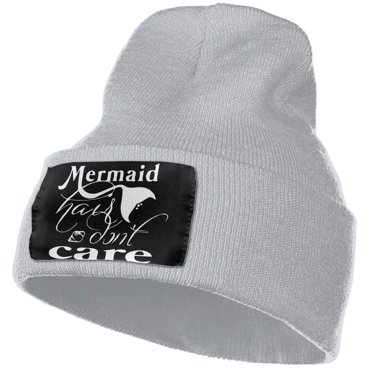 Mermaid Hair Don/¡/¯t Care Warm Winter Hat Knit Beanie Skull Cap Cuff Beanie Hat Winter Hats for Men /& Women