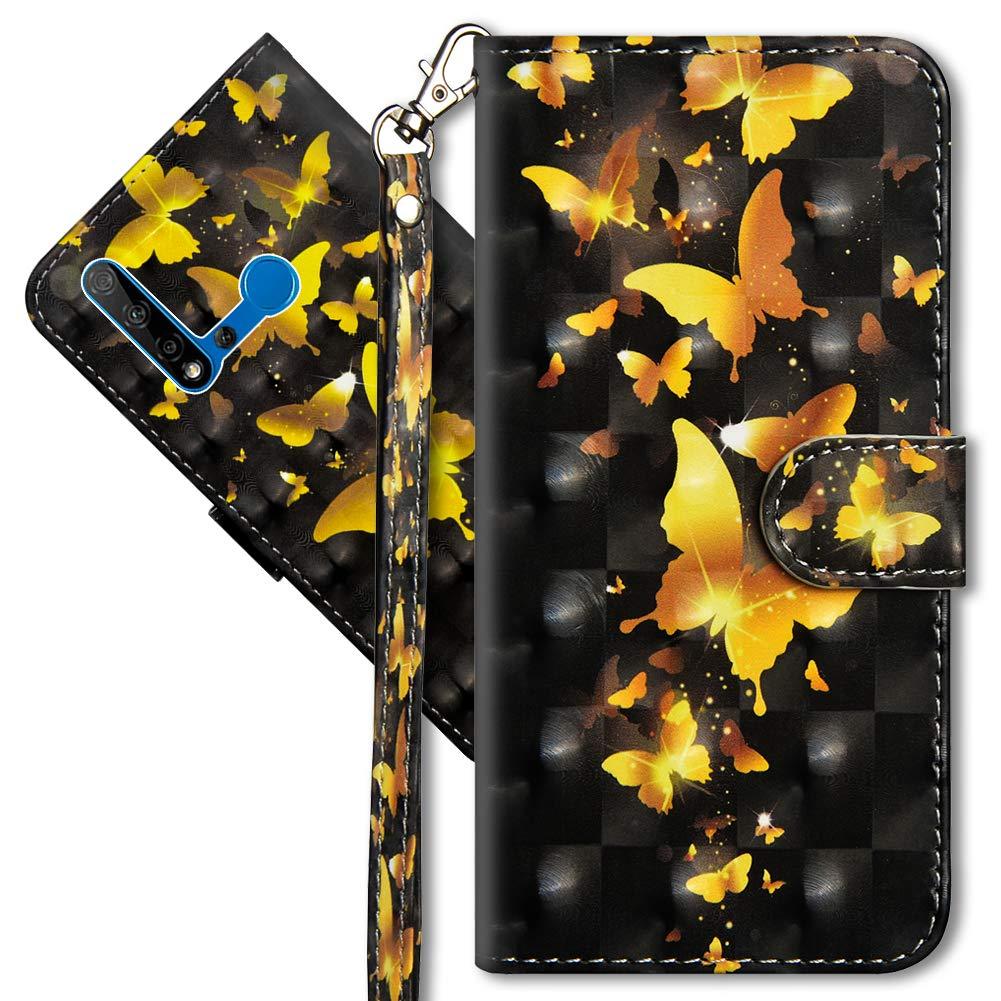 YX 3D Cat Tiger Honor 20 Lite 2019 2019 3D Brillos Carcasa Libro Flip Case Antigolpes Cartera PU Cuero Funda con Soporte para Huawei P Smart MRSTER Funda para Huawei P Smart