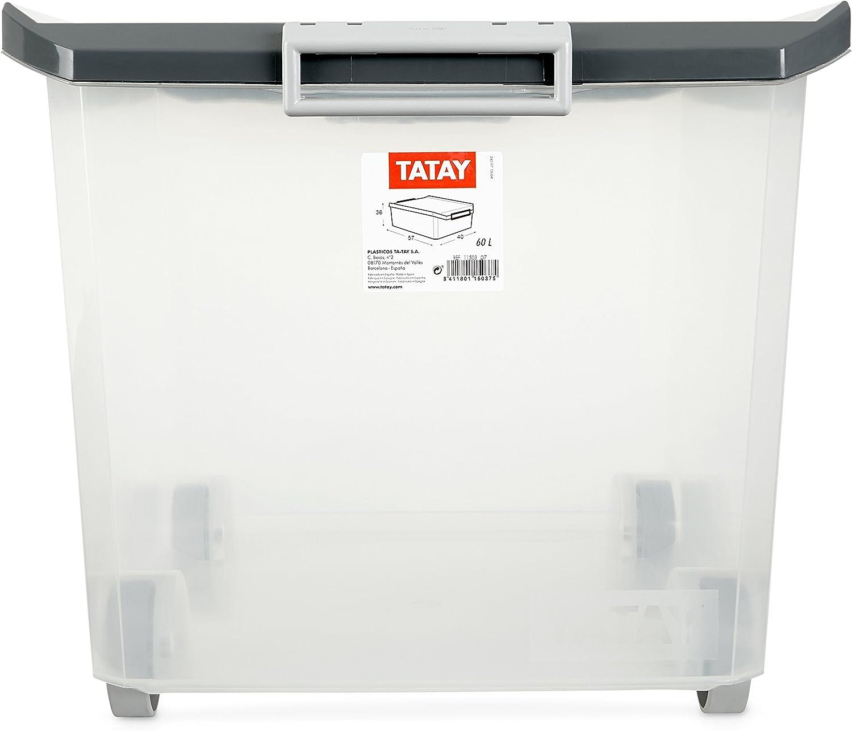 Tatay - Caja Multiusos con Ruedas, 60 L, Gris, 40 x 56.5 x 36.2 cm ...