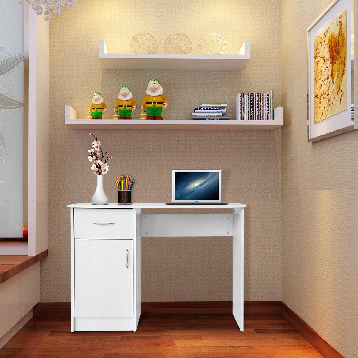YANG Bureau dordinateur avec Armoire et 1 tiroir pour Bureau /à Domicile