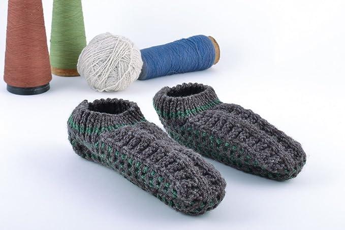 Pantuflas Tejidas Artesanales Zapatillas De Casa Originales Cálidas Grises: Amazon.es: Ropa y accesorios