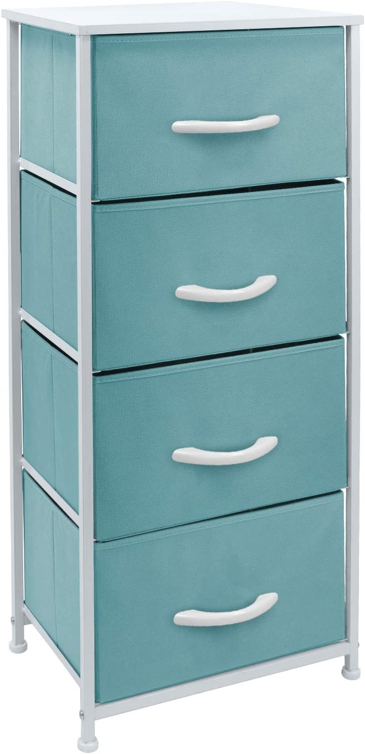 Sorbus Dresser Nightstand with 4 Drawers - Bedside Furniture & Accent End Table Chest for Home, Bedroom Accessories, Office, College Dorm, Steel Frame, Wood Top, Easy Pull Fabric Bins (Pastel Aqua)