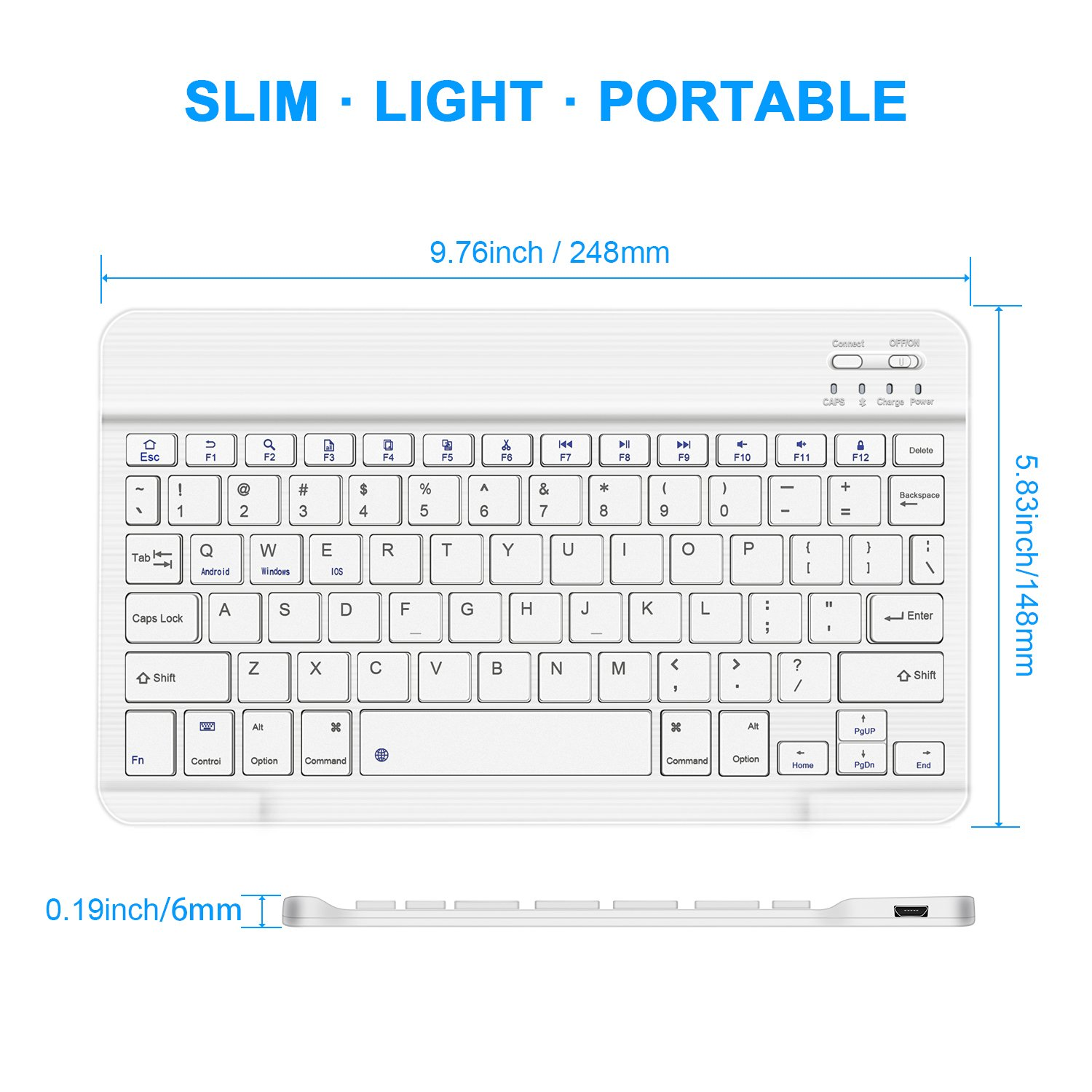 7.87 inch White Wireless Keyboard Tsmine Universal Ultra-Slim Bluetooth Keyboard Portable Wireless Keyboard for iOS//Android//Windows Mac OS PC Tablet and Other Bluetooth Enabled Devices