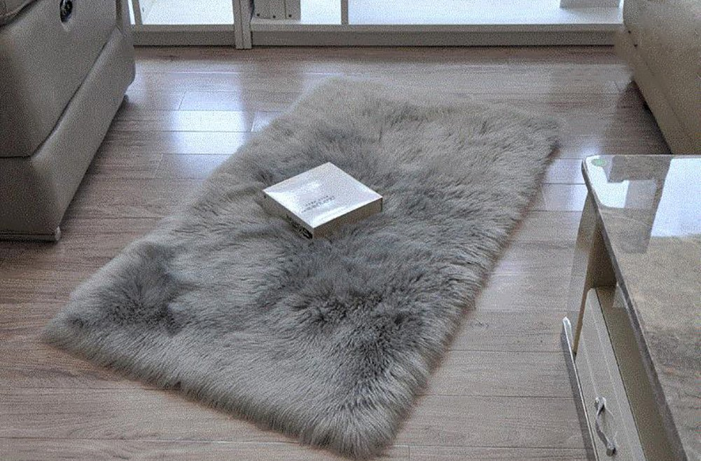 Cuteshower Serene Super Soft Faux Fur Rug Kids Carpet with Fluffy Thick Used As An Area Rugs in Bedroom 2ft x 3ft, Gray