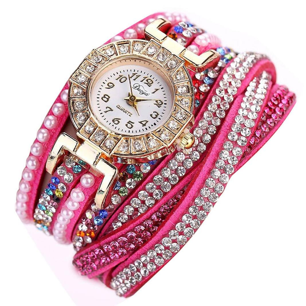 Hot Pink Hunputa® Ladies Watch Women Pearl Scale Bracelet Quartz Wristwatch Crystal Diamond Clock Women Dress Watch
