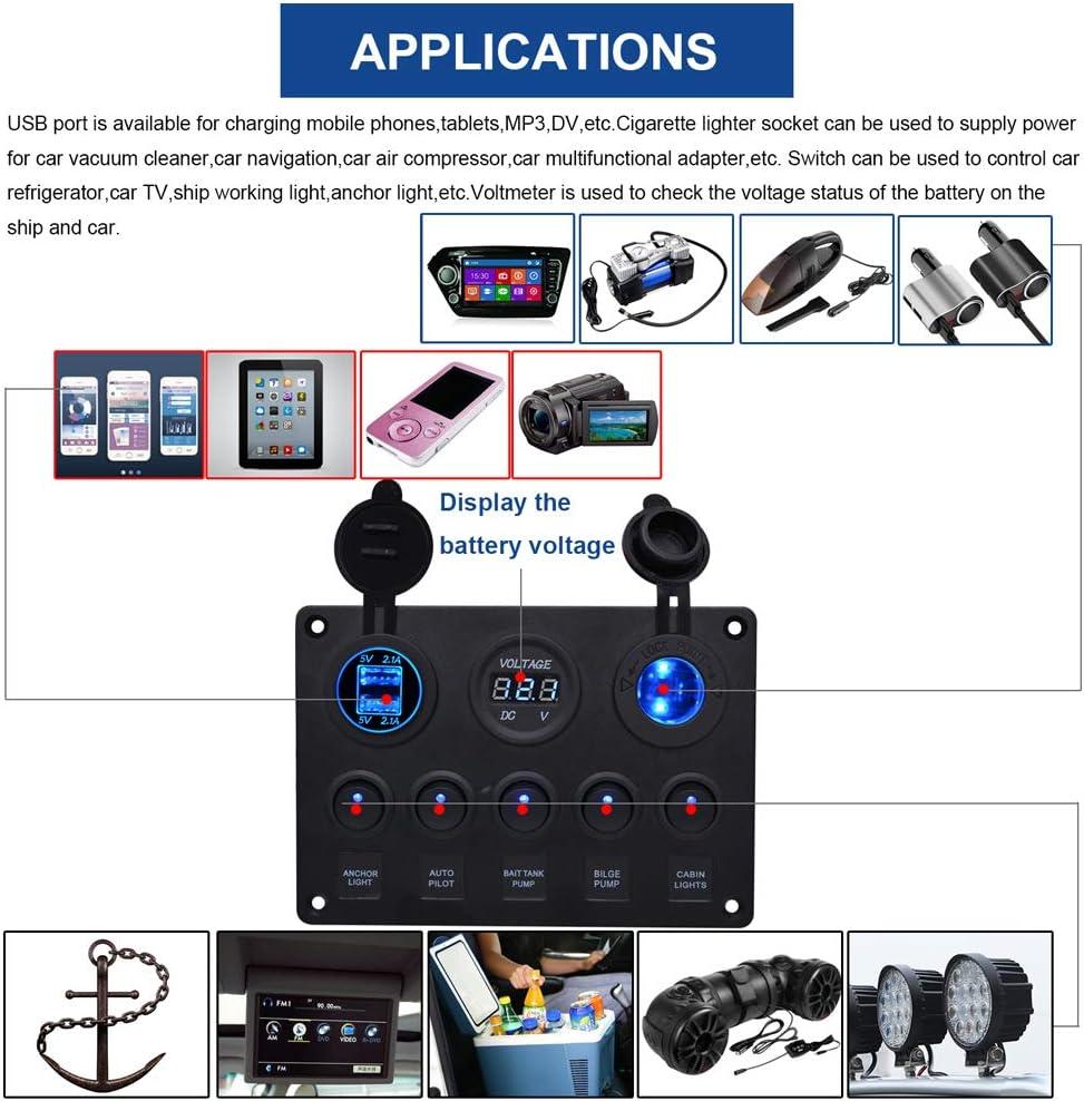 HKIASQ Rocker Switch Panel Interrupteur Bascule Panneau Double Prise De Charge USB Chargeur LED Voltm/ètre Prise De Courant Bateau Marine VR Camion Camping V/éhicules