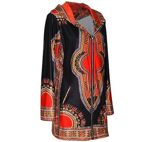Étnicos Señoras Manga Larga Chaqueta Camisa Sudadera Con Capucha