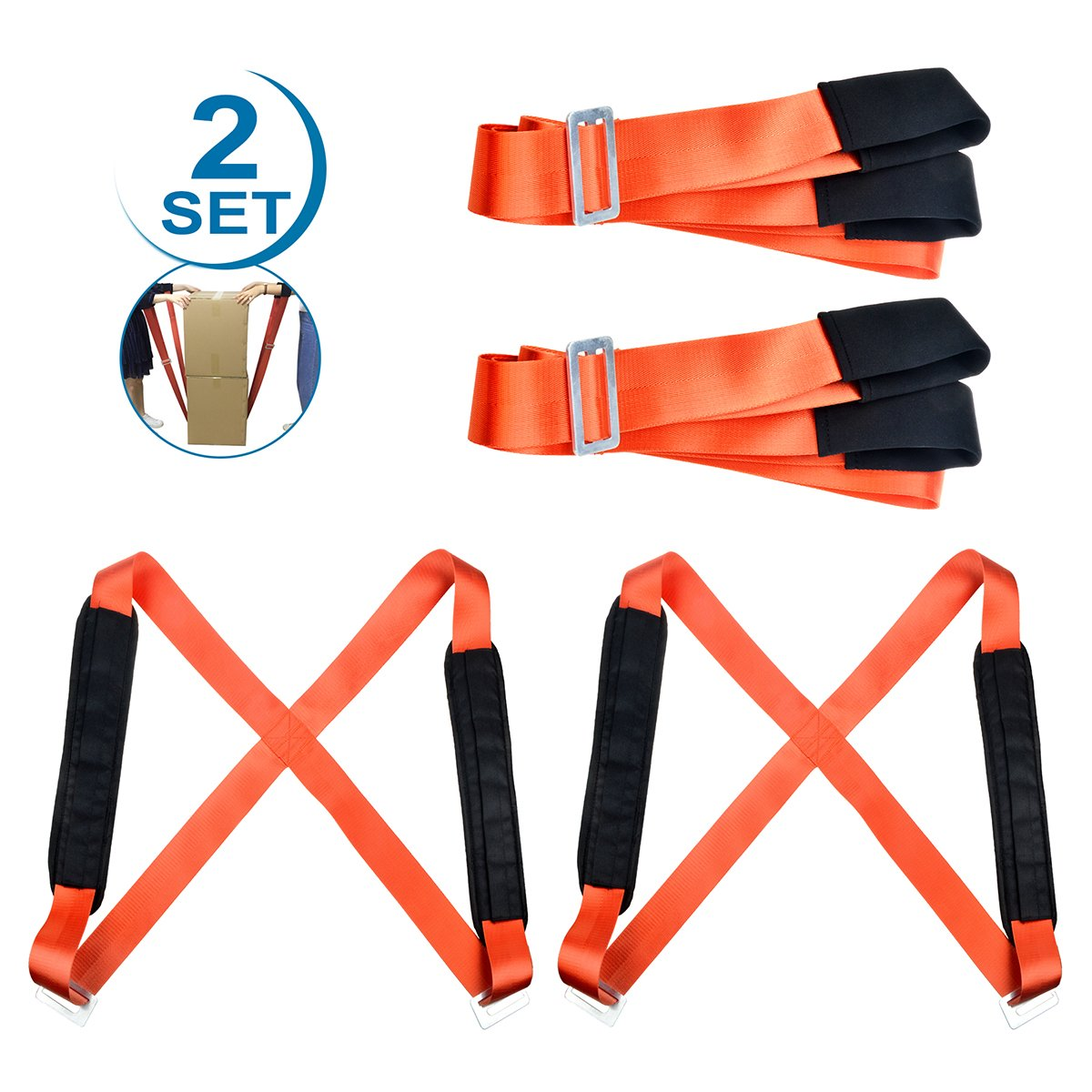 Moving Straps, BigRoof Lifting Adjustable Shoulder Carrying Moving Belt Back Max Load 650 Pound Moving Supplies Heavy Object Sofas Cabinets Mattresses