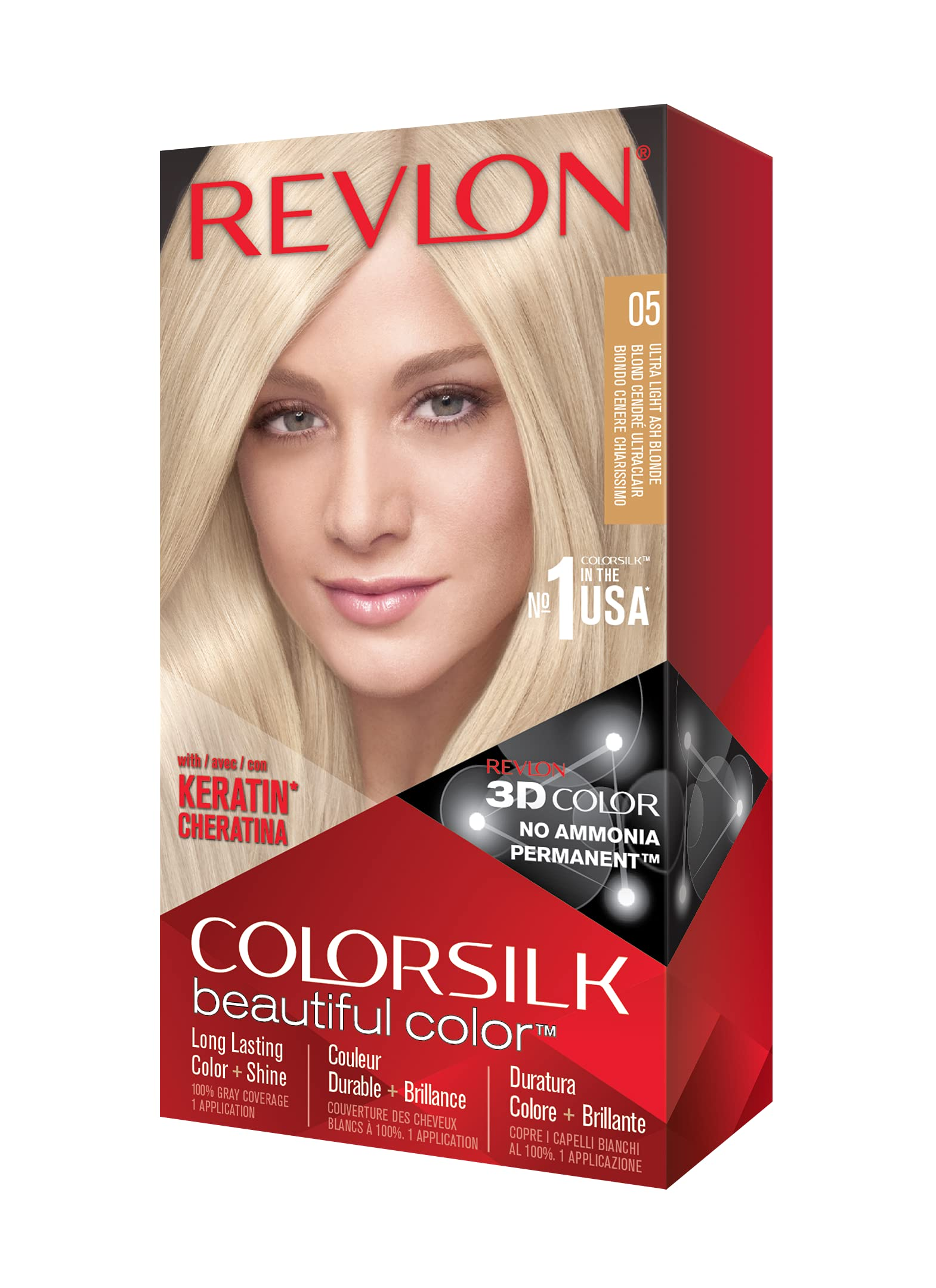 REVLON Colorsilk Beautiful Color Permanent Hair Color with 3D Gel Technology & Keratin, 100% Gray Coverage Hair Dye, 05 Ultra Light Ash Blonde