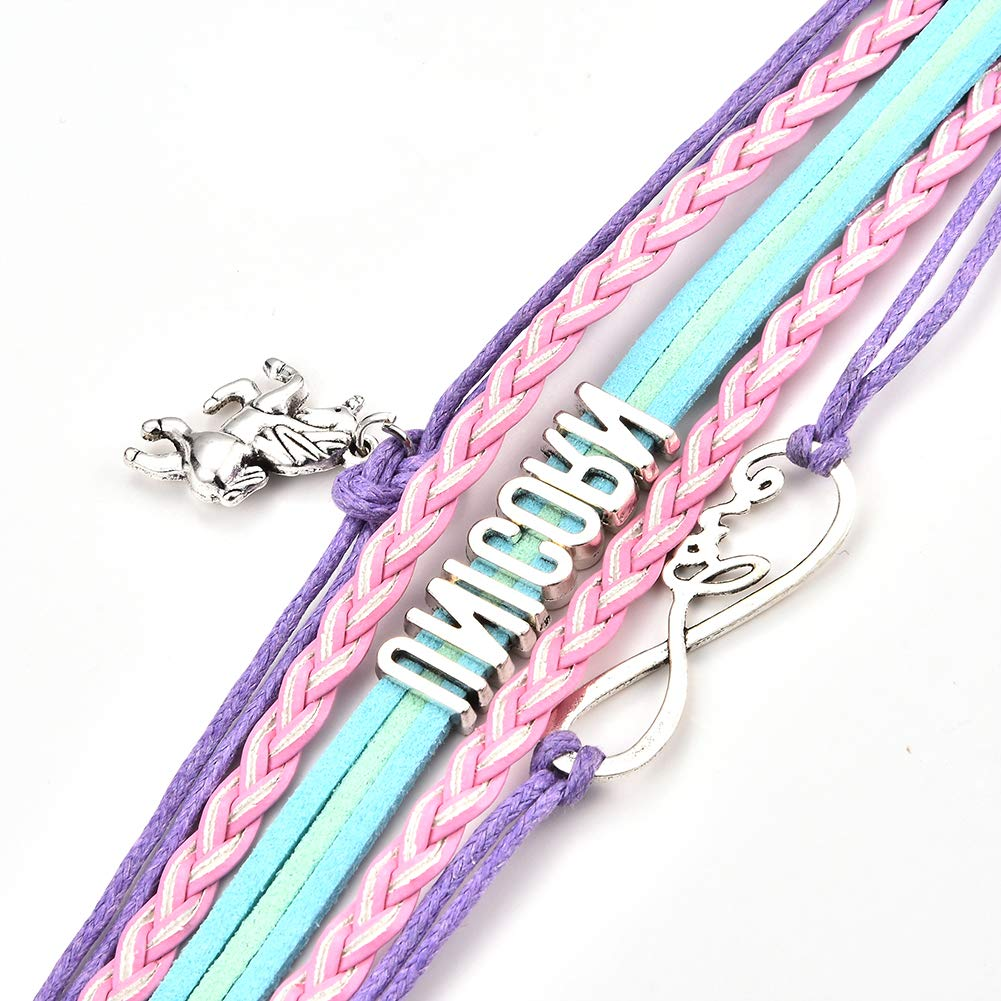 JunXin Cute Unicorn Bracelet Wristband Handmade Rainbow Jewelry Infinity Love Charm Gifts Birthday Gift Best Friends