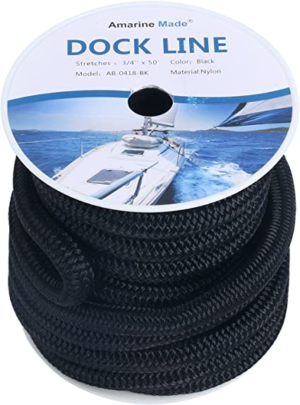 New 5//8 Inch 50 FT Double Braid Nylon Dock Line Mooring Rope Double Braided Line