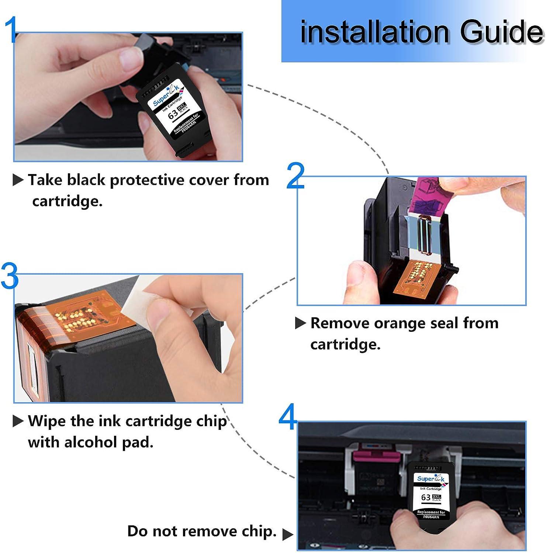 SuperInk 10 Pack Remanufactured F6U64A 63 63XL Black Ink Cartridge with New Version Chip Compatible for HP Envy 4520 4516 Officejet 5255 5258 3831 4655 Deskjet 2130 1112 3630 3633 Printer
