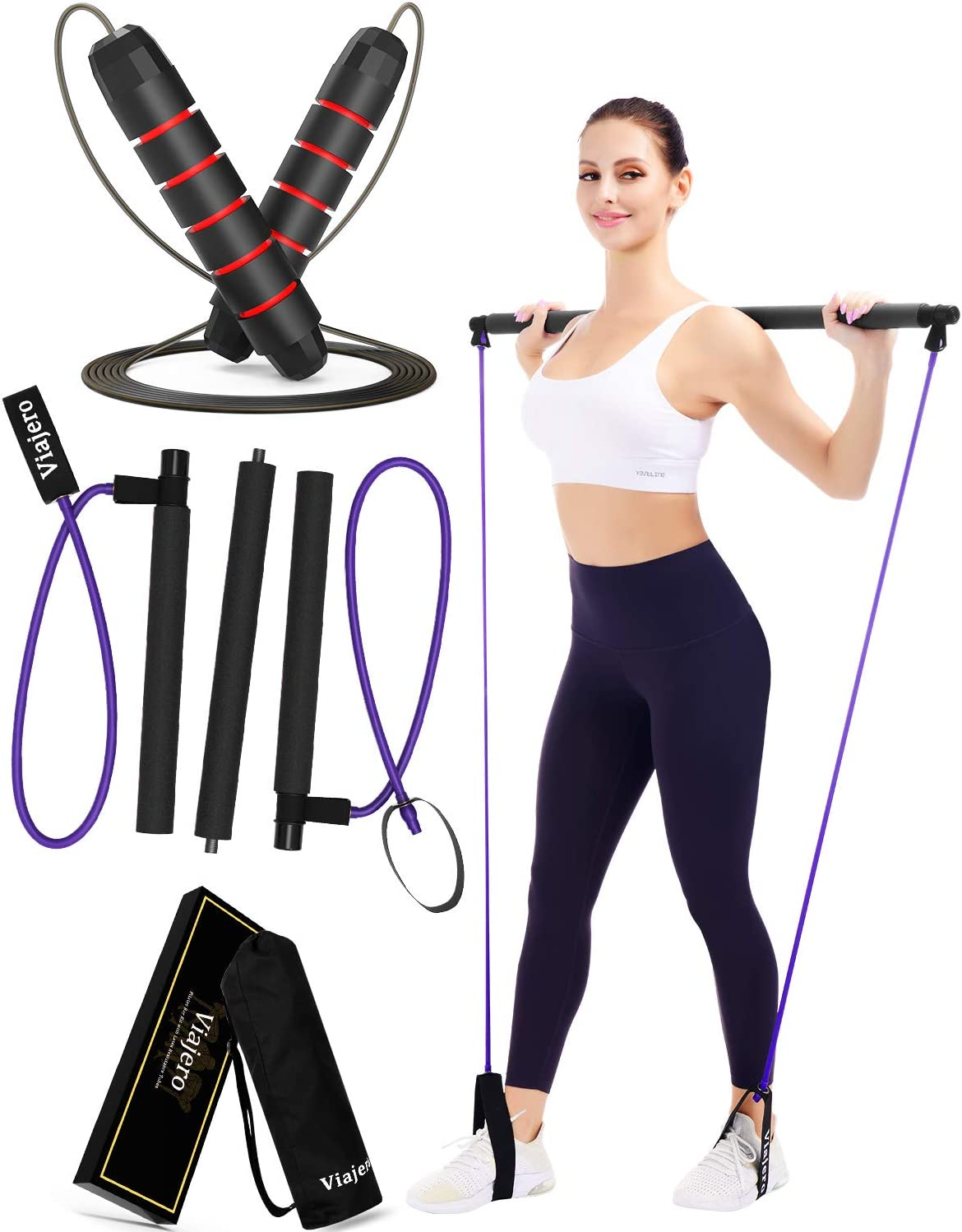 Viajero Pilates Bar Jump Rope, 2020 Upgraded 3-Section Pilates Bar Kit with 2 Powerful Latex Resistance Bands, All-in-one Home Gym Workout Equipment for Women and Men, Crossfit Fitness