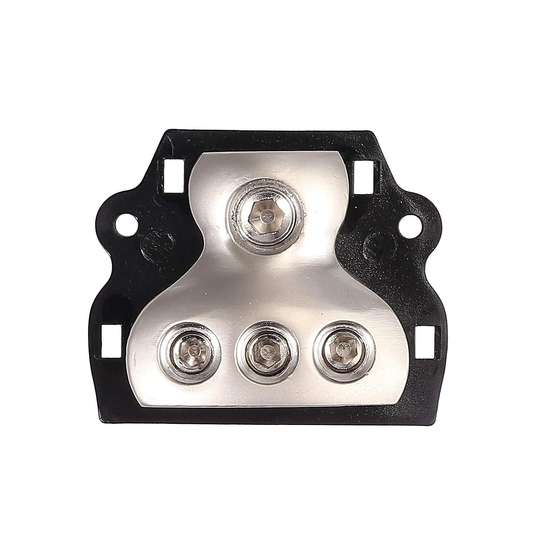 AUTOUTLET 2PCS 0 Gauge in 3 x 4 Gauge Out 3 Way Amp Copper Power Distribution Block for Car Audio Splitter