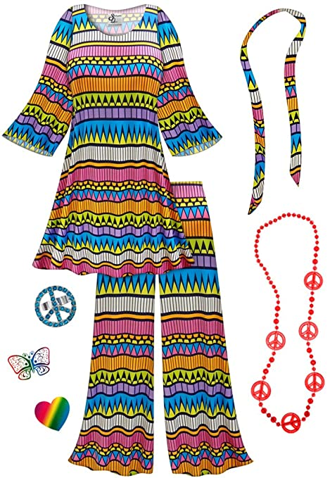 Hippie Costumes, Hippie Outfits Plus Sanctuarie Designs Double Bubble-Blue 2PC Plus Size Hippie Set Halloween Costume $109.79 AT vintagedancer.com