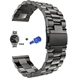 Samsung Gear S3 Smart Watch Band Solid Stainless Steel Metal Bracelet Fold Over Clasp Watch Band 22mm Replacement Strap Wrist Band for Frontier /Classic Strap +Tempered Glass Screen Protector (Black)