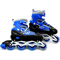 EASY FUTURE Inline Skates Adjustable Size Roller Skates with Flashing Wheels for Outdoor Indoor Children Skate Shoes for Boys and Girls 3 Colors Can Choose 3 Sizes