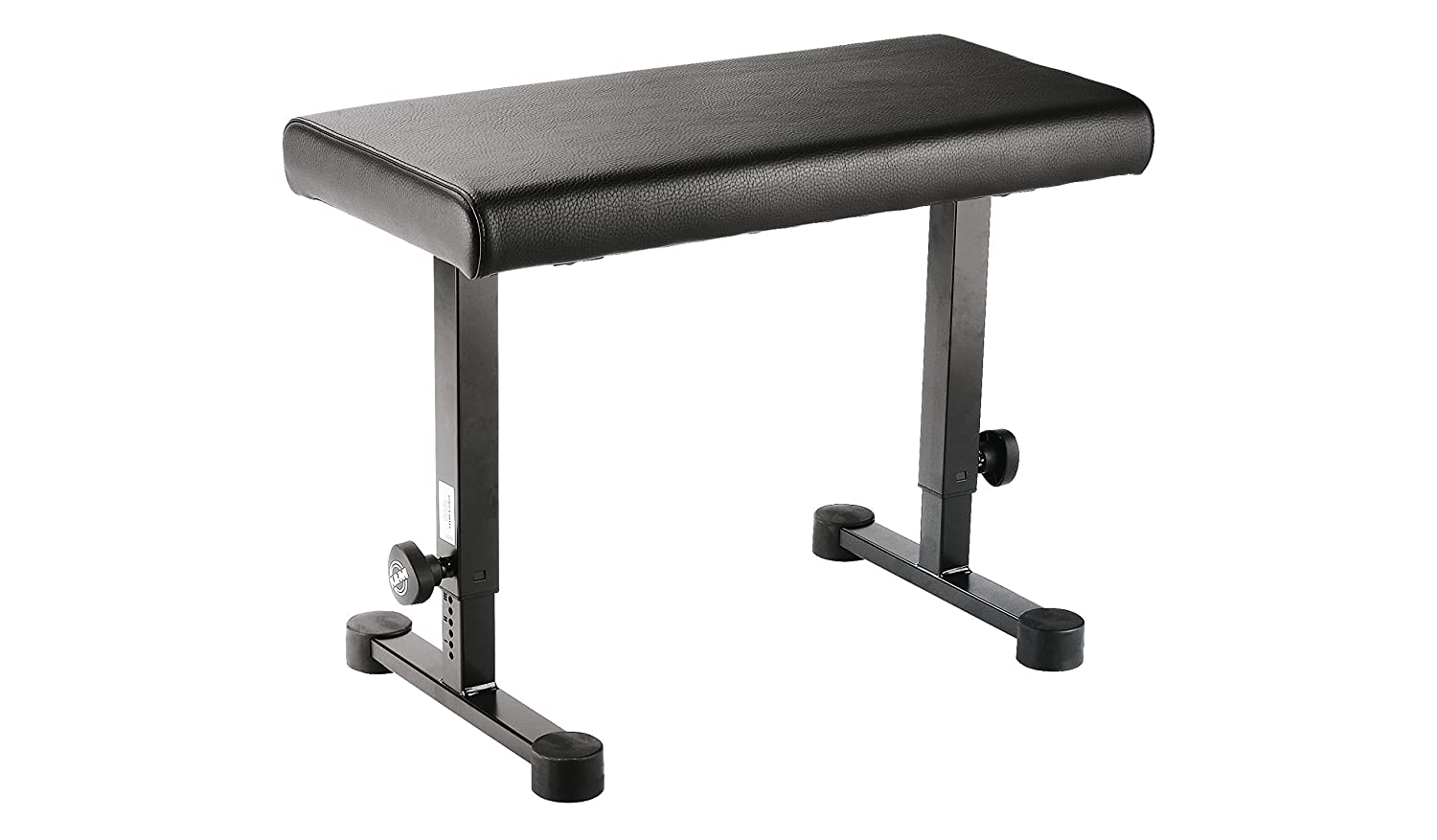 K&M Stands 14085-Black Keyboard Bench with Height Scale with 660mm X 330mm Leather Seat 14085.000.55