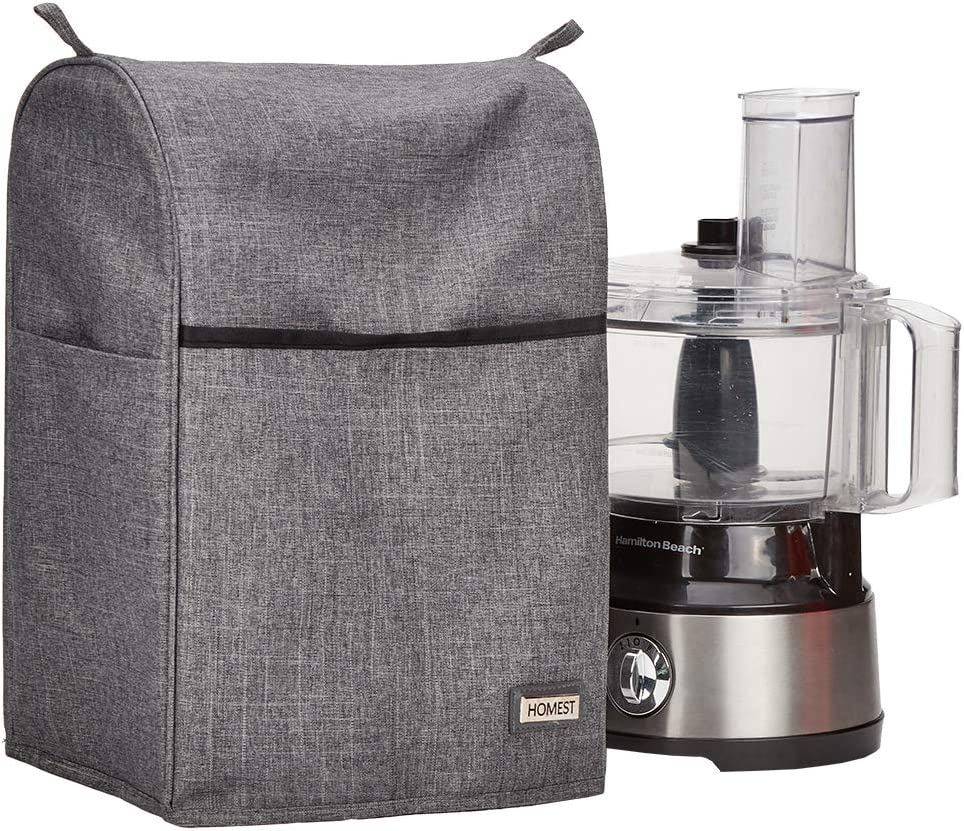 HOMEST Food Processor Dust Cover with Accessory Pockets Compatible with Cuisinart, Hamilton Beach 8-10 Cup, Grey (Patent Pending)