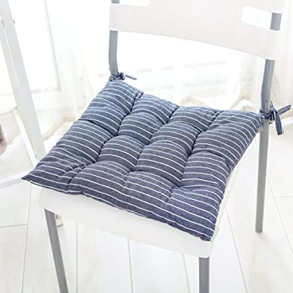 Cotton And Linen Soft Chair Cushion Dining Seat Cushion Four Seasons Stripe  Office Chair Cushion Small
