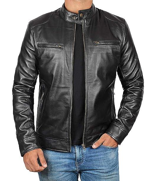 Amazon.com: Chaqueta de piel de cordero para hombre: Clothing