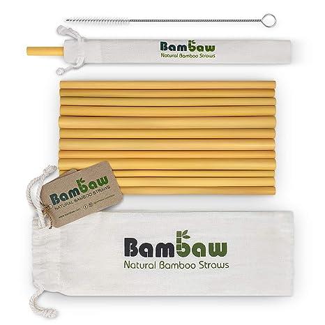 Bambaw Pajitas de Bambú | Pajitas Reutilizables | Fabricadas en Bali | Pack 12 Pajitas Biodegradables | Pajitas Cócteles | Pajitas Largas | Incluye ...