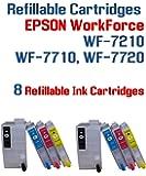8 T252XL Refillable Ink Cartridges - WorkForce WF-7210 WF-7710 WF-7720 printer Refillable ink cartridge package 8 Refillable ink cartridges with Auto Reset Chips