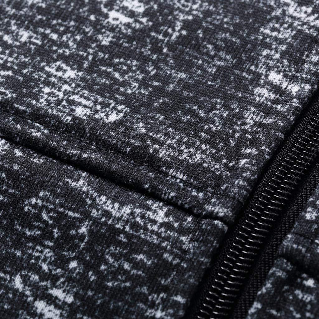 KingWo Mens Printing Slim Splicing Zipper Hooded Fitness Jacket Coat Long Sleeve top Blouse