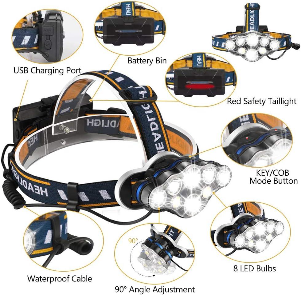 Jagd Laufen 20 Modi Stirnlampe Camping 8 LEDs wiederaufladbar Scheinwerfer mit wei/ßen harte Hutarbeit Outdoor roten Lichtern wasserdicht Angeln f/ür Erwachsene