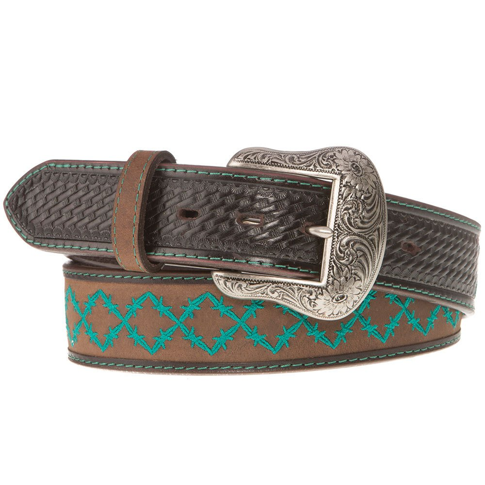 Western Fashion Accessories Mens Brown Belt With Turquoise Design