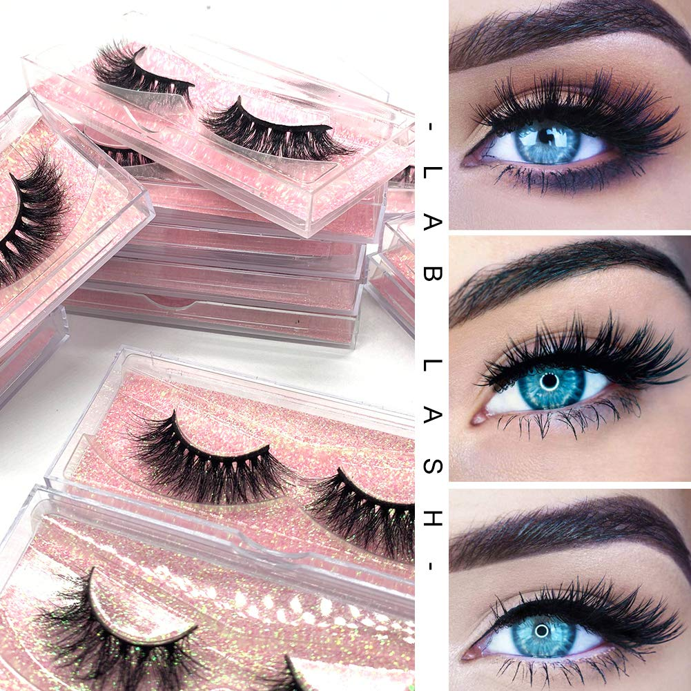 Amazon.com : Labeh False Eyelashes 3D Mink Fur Eyelashes Reusable Handmade Natural Lashes Fake Eyelashes Easy to Apply(20 type/package) : Beauty