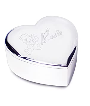 Silver Plated Trinket Jewellery Box Keepsake Heart Shape Personalised Engraved New Baby Birthday Naming Day Christening Gift