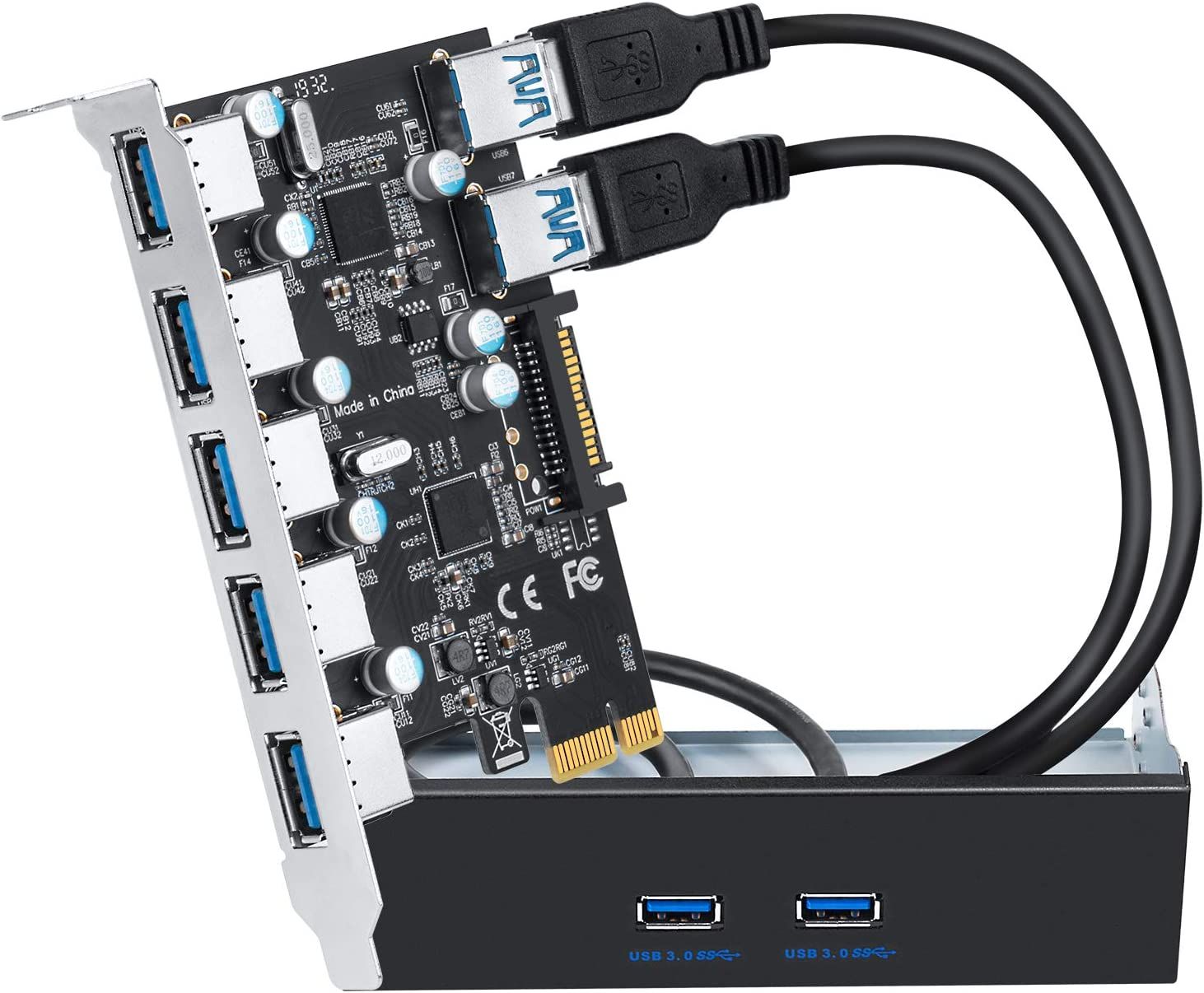 QNINE 7 Ports USB 3.0 PCIe Card Set, Include Superspeed PCI Express USB 3.0 Card and The Front Panel Bay and 2 Power Supply Cables