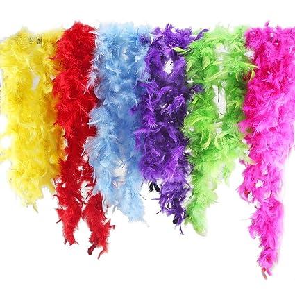 ETSAMOR Plumas Boa 6pcs Boa de Plumas de Colores para Mujer Accesorios de Vestido de Fiesta