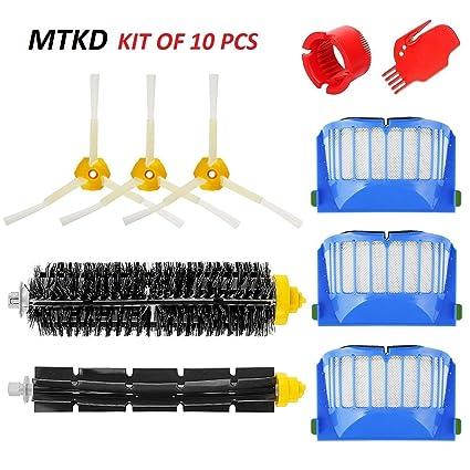 MTKD Kit Cepillos Repuestos para iRobot Roomba Serie 600 - Kit de 10 Piezas Accesorios(