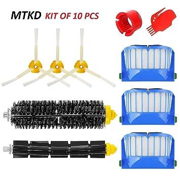 MTKD Kit Cepillos Repuestos para iRobot Roomba Serie 600 - Kit de 10 Piezas Accesorios(Cepillos Lateral, Filtros, Cepillo de Cerda y etc..) para Aspirador ...