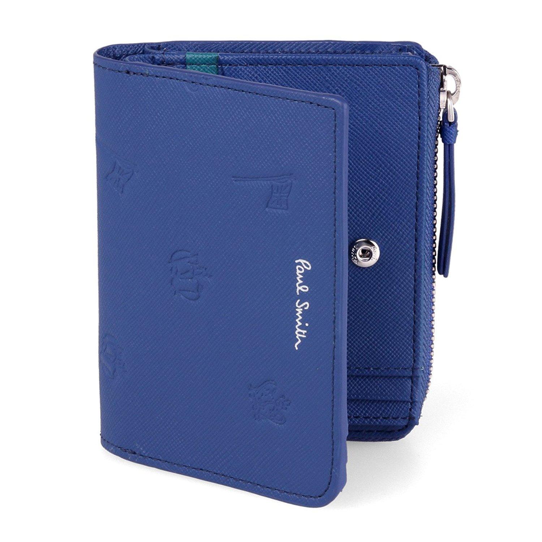[名入れ可] (ポールスミス) Paul Smith 正規品 本革 二つ折り 財布 ポールドローイング ショップバッグ付 レザー フラップ ウォレット 財布 B01MG9KYZE 名入れなし ブルー ブルー 名入れなし