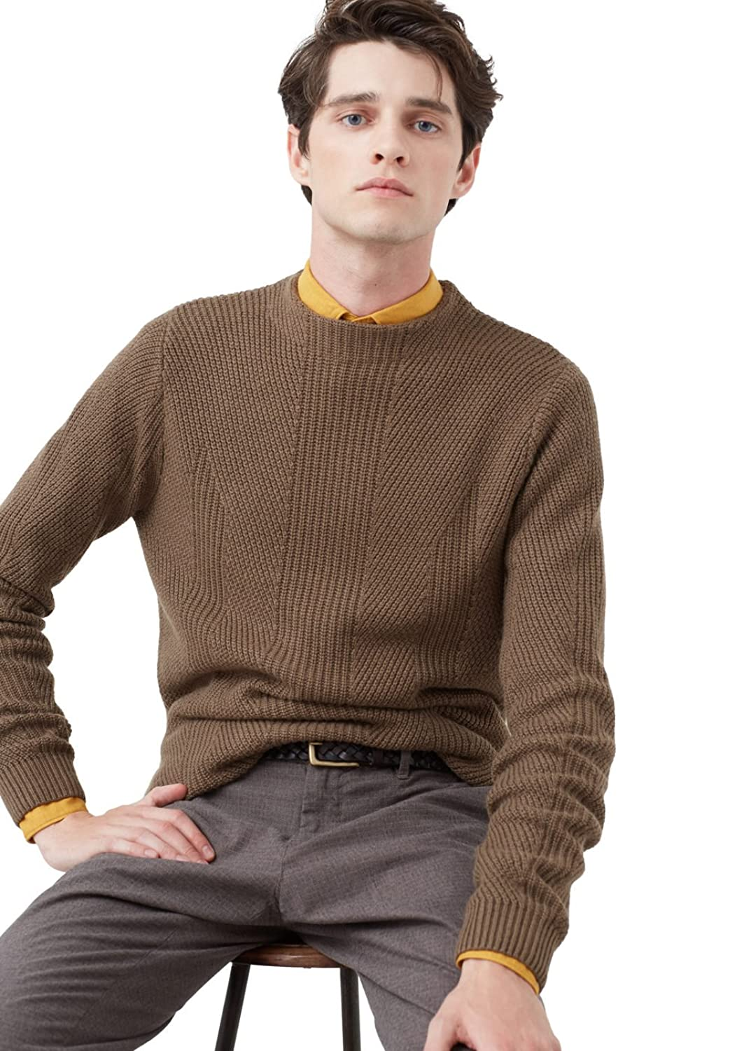 MANGO MAN - Wool-blend knit sweater - Size:S - Color:Tobacco Brown
