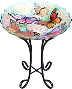 "MUMTOP Outdoor Glass Birdbath with Metal Stand for Lawn Yard Garden Butterfly Decor, 18"" Dia 21.65"" Height"