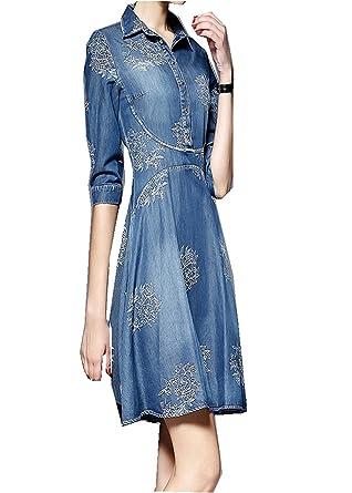 cd6a2255b341 OMUUTR Kleid Jeanskleider Damen Stickerei Jeansbluse Jeanshemd Denim  Maxikleid 3 4 Ärmel Sommerkleid Strandkleid Jerseykleid