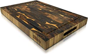 Extra Large Acacia Wood Cutting Board 18x12x1.5 Butcher Block With Juice Groove & Gift Box (Acacia End Grain)