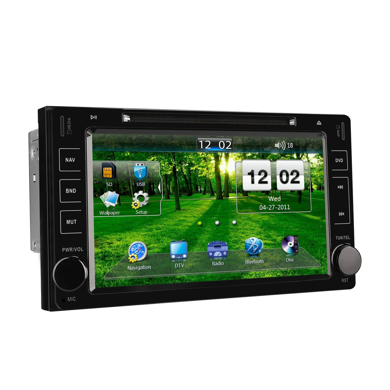 ... Bluetooth 8 Inch Touchscreen Car Radio In-dash GPS Navigation with MirrorLink, FA/AM, AUX, USB/SD, CD/DVD Video Audio Stereo Multimedia Player: Beauty