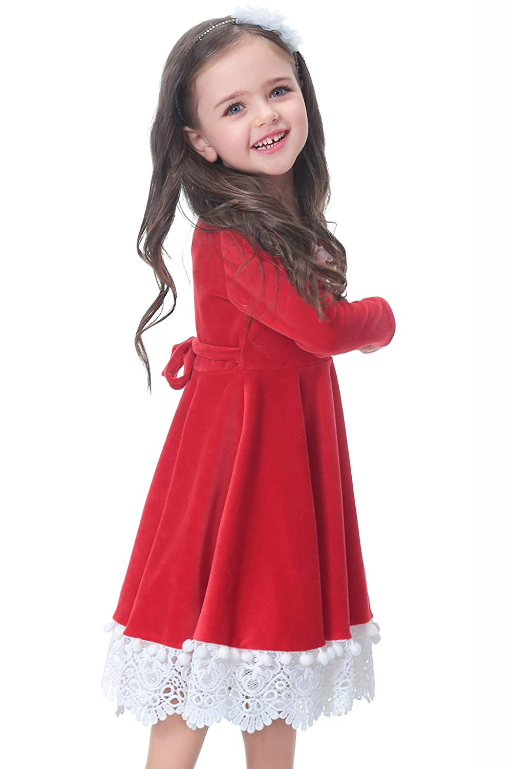 38d2065c357 Amazon.com  Flofallzique Christmas Dress for Girls Long Sleeve Toddler  Dress Birthday Party Baby Clothes  Clothing