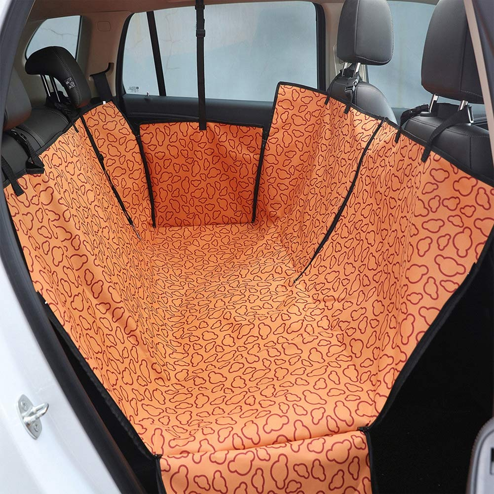 orange Luxury Pet Car Seat Cover Waterproof,Scratch Proof,Nonslip Backing, Hammock Style and Heavy Duty Back Seat Predector,Extra Durable Zippered Side Flap, for Cars Trucks and SUV,orange