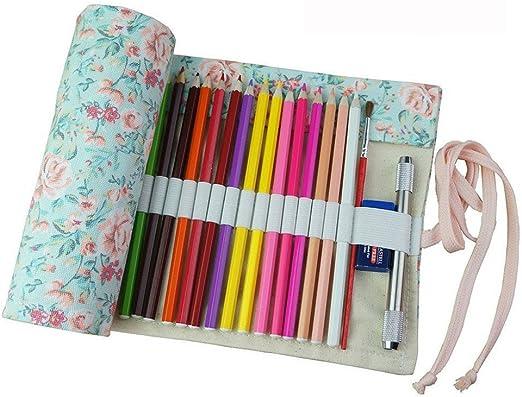 Estuche enrollable de tela Fablcrew, para lápices y otros usos, 36, 48 o 72 agujeros 95*21cm 72 Holes: Amazon.es: Hogar